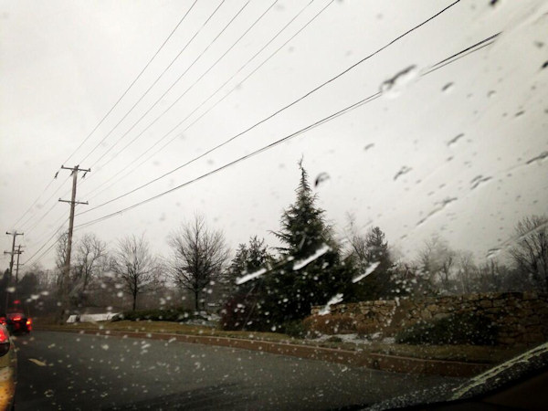 "Action News viewer Sara Smith tweeted this photo of ""Snowing with sleet in Malvern"" on March 18, 2013."