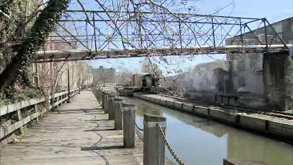 A tree fell across the Manayunk Towpath Monday afternoon, March 19, 2012, damaging a section of the walkway and hitting a freight train. It happened at 2:00 p.m. just off Main Street near Cotton Street.  No one was injured.