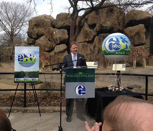 "6abc President and General Manager Bernie Prazenica address the crowd at the announcement and speaks of the station's partnership with the Philadelphia Zoo in bringing the Channel 6 ZooBalloon back for a final season. ""Since it first took flight in 2002, The Channel 6 ZooBalloon has been a source of immense pride - not just for all of us here at 6abc, but for Delaware Valley residents and Zoo guests alike,"" says Mr. Prazenica.  ""In the words of so many of our viewers...this is no ordinary balloon; it is a unique and treasured piece of the Philadelphia skyline.  Now, we are proud to put that missing piece back in its place, and to give Zoo guests the chance to Soar Once More."""