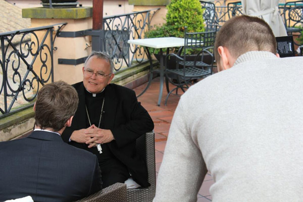 Sitting down today with Archbishop Chaput... @briantaff6abc @6abcMike #6abcRome <span class=meta>(Action News Executive Producer John Morris &#47; @john_w_morris)</span>