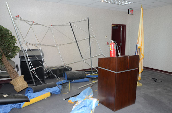 Officials say it was 8:30 a.m. on Tuesday April 2, 2013 when the suspect got his hands on a fire extinguisher, allegedly spraying several officers and damaging offices on the 4th floor of the Atlantic City Public Safety Building, located in the 2700 block of Atlantic Avenue.