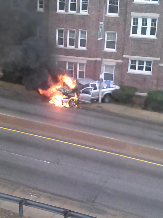 Action News viewer dfranklin0611 was on the scene as a truck caught fire in the Wynnefield section of Philadelphia on April 2, 2014.