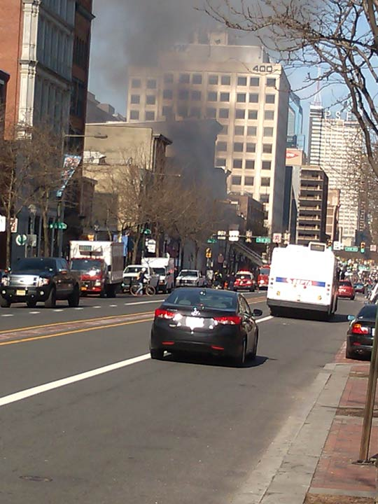 Fire broke out at the Suit Corner building in Old City on Wednesday morning, April 9, 2014. (Photo courtesy of Larry Mackey)