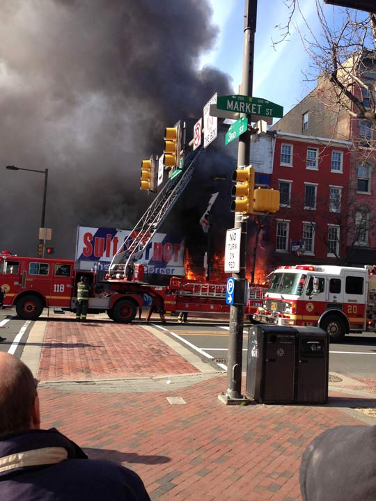 Fire broke out at the Suit Corner building in Old City on Wednesday morning, April 9, 2014. (Photo courtesy of Meryl Eisman)