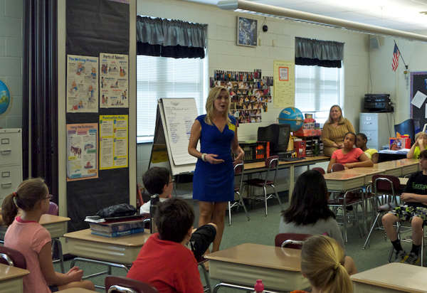 "<div class=""meta ""><span class=""caption-text "">Karen Rogers speaks to 5th graders at Moorestown Elementary </span></div>"