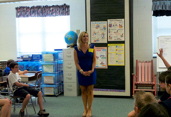 Karen Rogers speaks to 5th graders at Moorestown Elementary