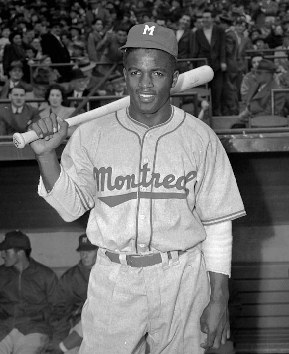 "<div class=""meta ""><span class=""caption-text "">This April 18,1946 file photo shows Montreal Royals Jackie Robinson.  (AP Photo/John J. Lent)    </span></div>"