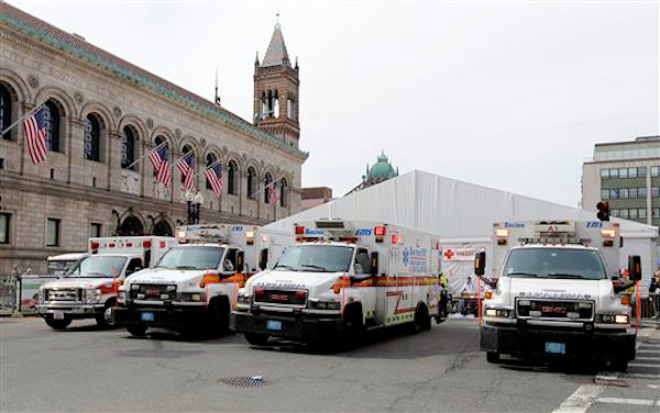 "<div class=""meta ""><span class=""caption-text "">Ambulances sit outside the medical tent at the Boston Marathon finish area in the aftermath of two blasts at the 2013 Boston Marathon finish area in Boston Monday, April 15, 2013. (AP Photo/Elise Amendola)</span></div>"