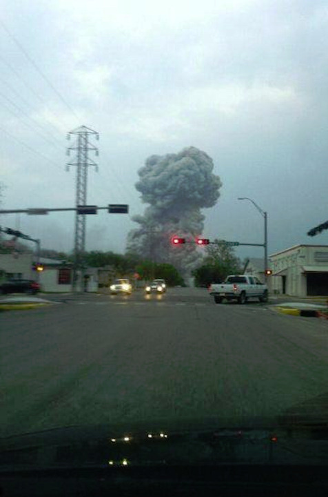 ABC station KXXV viewer Fiona Quick in Waco sent in this photo of the West, Texas plant explosion to the station's Facebook page.
