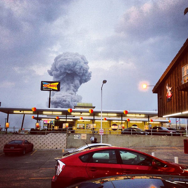 "<div class=""meta ""><span class=""caption-text "">In this Instagram photo provided by Andy Bartee, a plume of smoke rises from a fertilizer plant fire in West, Texas on Wednesday, April 17, 2013. An explosion at a fertilizer plant near Waco Wednesday night injured dozens of people and sent flames shooting high into the night sky, leaving the factory a smoldering ruin and causing major damage to surrounding buildings. (AP Photo/Andy Bartee)   </span></div>"