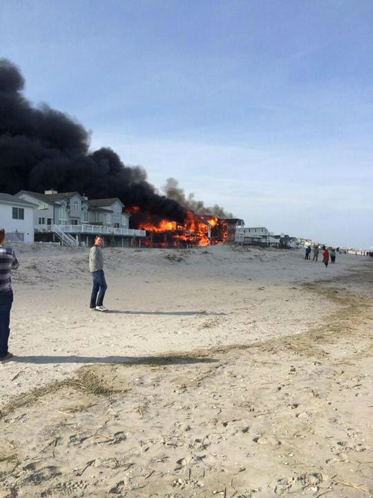 Action News viewers captured photos of the flames and smoke in Sea Isle, New Jersey on April 18, 2014.  (Mike Nicoletti @Dumpstersnack)