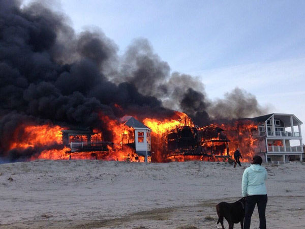 Action News viewers captured photos of the flames and smoke in Sea Isle, New Jersey on April 18, 2014. (Kayla Maerz @Kayla_maerz)
