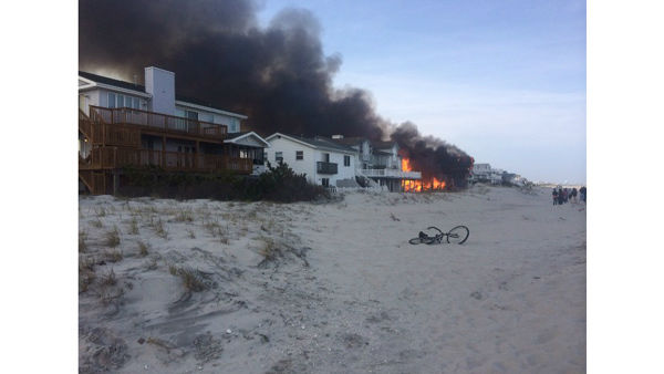 Action News viewers captured photos of the flames and smoke in Sea Isle, New Jersey on April 18, 2014. (Susiestop via Sendit.6abc.com)