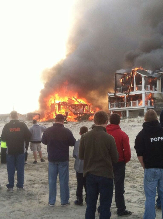 Action News viewers captured photos of the flames and smoke in Sea Isle, New Jersey on April 18, 2014. (Zach @zmckenna72)