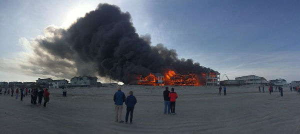 Action News viewers captured photos of the flames and smoke in Sea Isle, New Jersey on April 18, 2014. (Brian Kelly @bkbossman97)