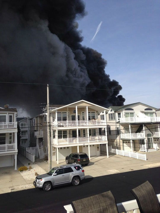 "<div class=""meta ""><span class=""caption-text "">Action News viewers captured photos of the flames and smoke in Sea Isle, New Jersey on April 18, 2014. (Mike Nicoletti @Dumpstersnack)</span></div>"