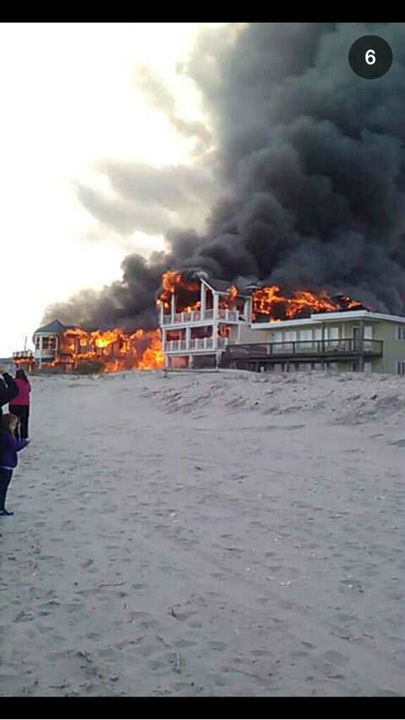 Action News viewers captured photos of the flames and smoke in Sea Isle, New Jersey on April 18, 2014. (Griffin Kennedy @griffinkennedy1)