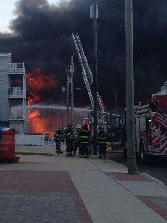 Action News viewers captured photos of the flames and smoke in Sea Isle, New Jersey on April 18, 2014. (Nick Mink @NJ_MortgageGuy)