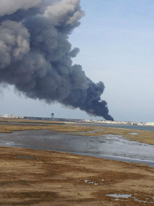 Action News viewers captured photos of the flames and smoke in Sea Isle, New Jersey on April 18, 2014. (Lorey via Sendit.6abc.com)