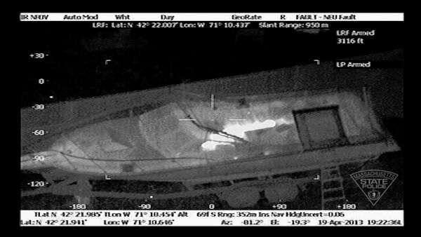 "<div class=""meta ""><span class=""caption-text "">This Friday, April 19, 2013 image made available by the Massachusetts State Police shows 19-year-old Boston Marathon bombing suspect, Dzhokhar Tsarnaev, hiding inside a boat during a search for him in Watertown, Mass. He was pulled, wounded and bloody, from the boat parked in the backyard of a home in the Greater Boston area. (AP Photo/Massachusetts State Police)</span></div>"