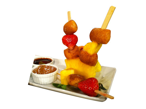 "<div class=""meta ""><span class=""caption-text "">SUPERPRETZEL® Soft Pretzel & Fruit Kabobs  (Yields: 3-4 skewers)     Ingredients:     6-8 SUPERPRETZEL® Soft Pretzel Bites  5-6 Chunks of Fresh Pineapple 5-6 Fresh Strawberries 3-4 Bamboo Skewers (6 inch in length) 3 Dipping Sauces of your Choice Ex: chocolate sauce, caramel sauce, and a raspberry sauce 1 Piece of Pineapple (cut about 1 inch thick and 6 inches long) Cinnamon Sugar   Directions:    Clean and prepare the fruit called for above Bake off the Soft Pretzel Bites according to the box instructions, dredge in cinnamon sugar after coming out of the oven coating them generously. Create your kabobs by alternating soft pretzel bites, strawberries, and pineapple chunks onto one skewer. Create 3-4 skewers in total. Using your long piece of pineapple as your base, pierce the skewers into the pineapple log for a gorgeous presentation. Serve with your favorite sauces and enjoy. (Photo/SuperPretzel)</span></div>"