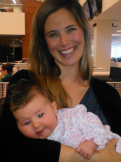 Katherine Scott and baby Anne Beatrice visit Action News