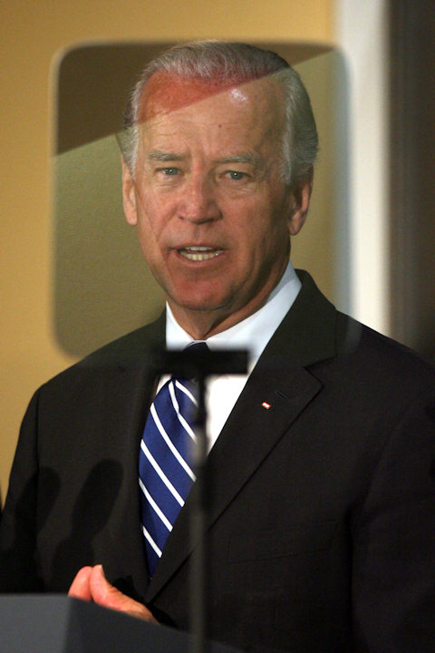 Vice President Joe Biden is seen through a TelePrompTer as speaks during a roundtable on the Recovery Act, Tuesday, June 2, 2009, at Pace University's Lubin School of Business in New York. (AP Photo/Mary Altaffer)