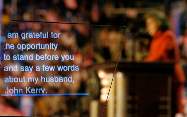 Teresa Heinz Kerry speaks to delegates, as her words are displayed on a teleprompter, during the Democratic National Convention at the FleetCenter in Boston, Tuesday, July 27, 2004. (AP Photo/Robert F. Bukaty)