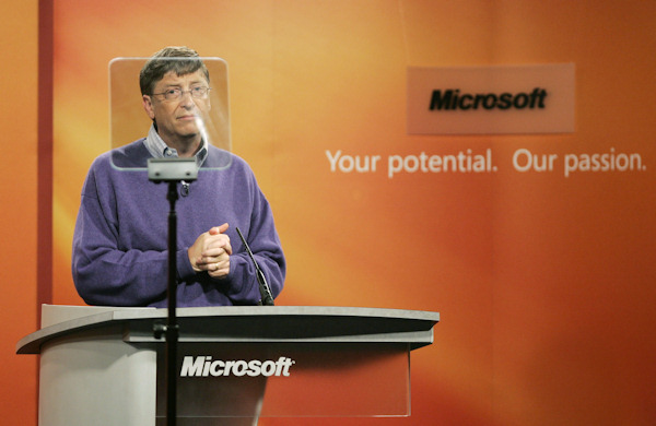 Microsoft Corp. Chairman Bill Gates looks to the clear screen of a teleprompter as he announces Thursday, June 15, 2006, at Microsoft's Redmond, Wash. campus that he will transition from day-to-day responsibilities at the company he co-founded to concentrate on the charitable work of the Bill & Melinda Gates Foundation Gates said he hopes to remain the company's chairman indefinitely. (AP Photo/Ted S. Warren)