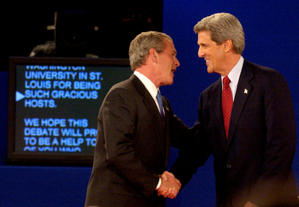 President Bush, left, and Democratic presidential nominee John Kerry shake hands after the second presidential debate Friday, Oct. 8, 2004, at Washington University in St. Louis. (AP Photo/Charlie Riedel)