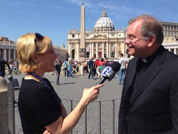 Action News' Sarah Bloomquist interviews Father Dennis Gill of the Archdiocese of Philadelphia while in Rome.