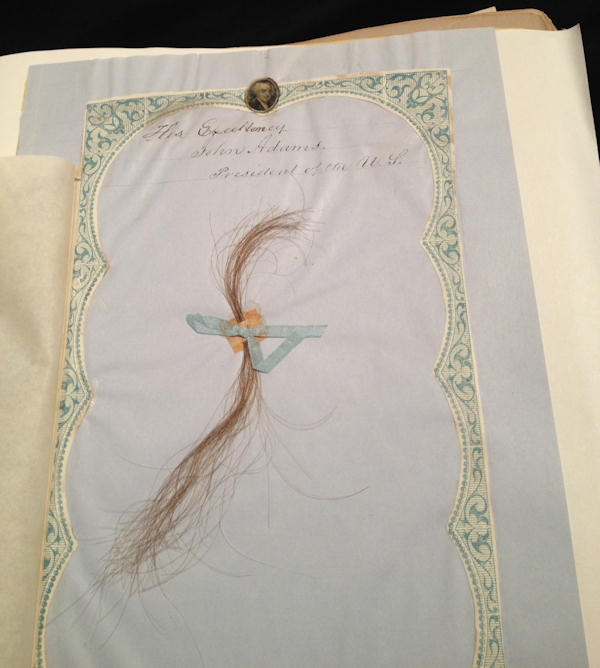 "<div class=""meta ""><span class=""caption-text "">President John Adams hair from P.A. Brownes Collection of Pile</span></div>"