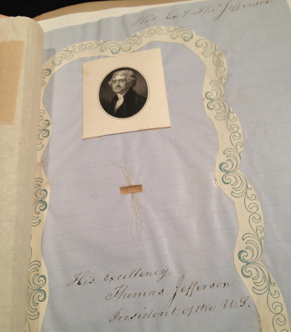 "<div class=""meta image-caption""><div class=""origin-logo origin-image ""><span></span></div><span class=""caption-text"">President Thomas Jefferson hair from P.A. Brownes Collection of Pile</span></div>"