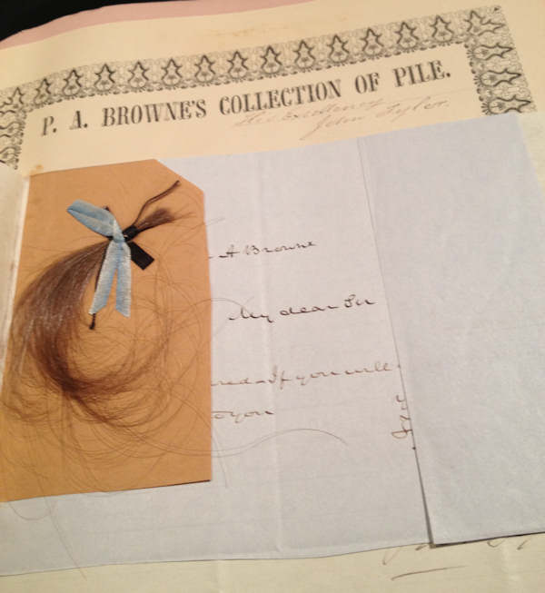 "<div class=""meta image-caption""><div class=""origin-logo origin-image ""><span></span></div><span class=""caption-text"">President John Tyler hair from P.A. Brownes Collection of Pile</span></div>"