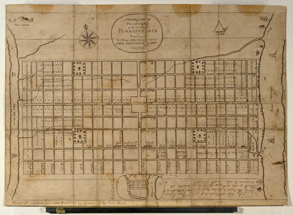 Pictured: The first map of Philadelphia (Courtesy of the Historical Society of Pennsylvania.)