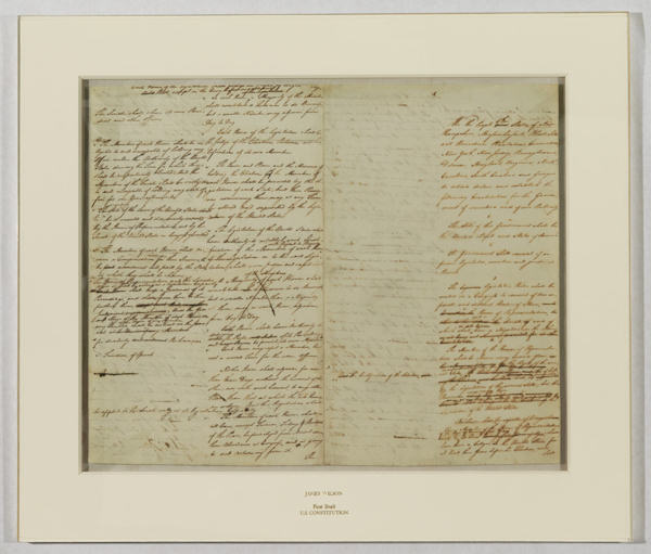 Pictured: Handwritten draft of the U.S. Constitution (Courtesy of the Historical Society of Pennsylvania.)