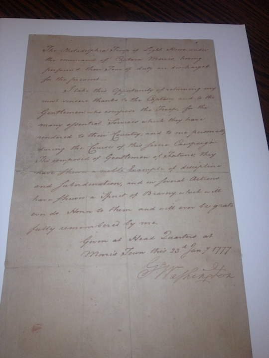 Military discharge from January 23,1777 for Philadelphia's First City Troop  (National Park Service)