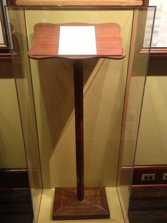 Podium Abraham Lincoln stood at when he gave the Gettysburg Address (Union League of Philadelphia)