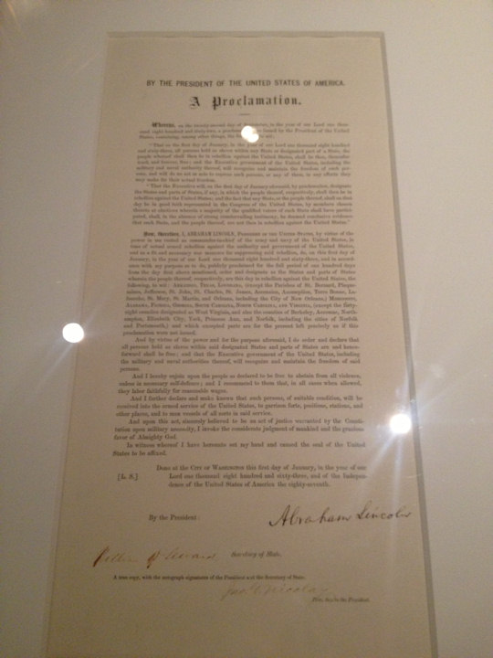 "<div class=""meta ""><span class=""caption-text "">Signed copy of the Emancipation Proclamation by Abraham Lincoln - 48 copies printed for the Great Central Fair held on Logan Square in Philadelphia in June 1864, only 26 are known to exist today (Union League of Philadelphia)</span></div>"