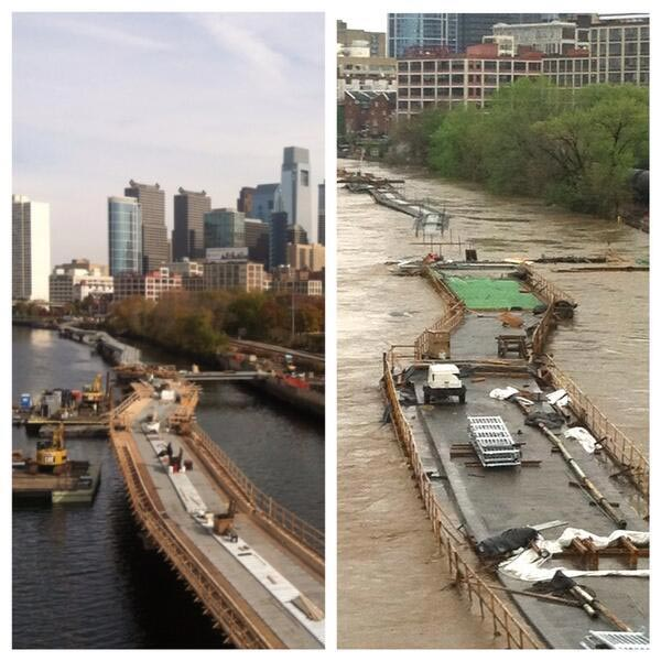 A shot from Action News viewer Laura Hibbs of the future site of the Schuylkill River boardwalk in Center City before the flooding and after.