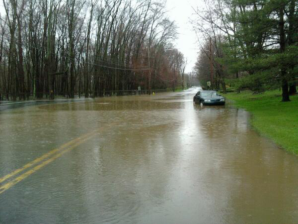 Matt in Doylestown sent in this photo of a car stuck in the floodwaters.