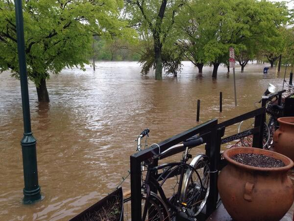From the restaurant In Riva in East Falls: The Schuylkill River was almost to the patio when they snapped the picture.