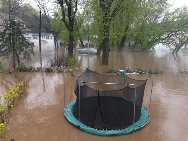 Nobody will be playing on this trampoline in Roxborough anytime soon. Talal sent us this shot from the aptly named River Road.