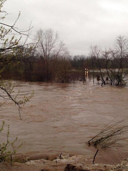 "<div class=""meta image-caption""><div class=""origin-logo origin-image ""><span></span></div><span class=""caption-text"">Katelyn sent in this photo of the Perkiomen Creek looked more like a raging river Thursday morning than a calm waterway. </span></div>"