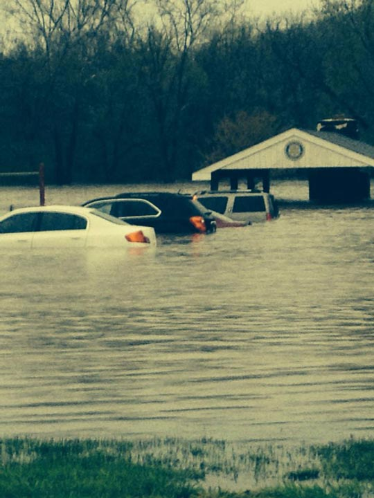 Miguel took this picture of at least three submerged cars at Johnsontown Park in Downingtown.