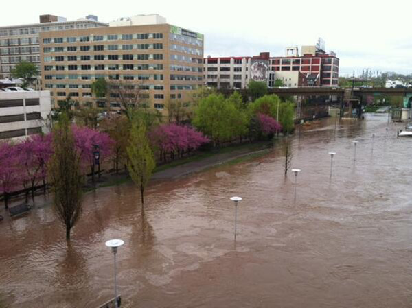Schuylkill River on Chestnut Street Bridge. Sent from Alissa in Center City.