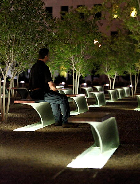 A man sits on a bench a the Pentagon Memorial early Monday, May 2, 2011, at the Pentagon in Washington, after President Barack Obama announced the death of Osama Bin Laden.  <span class=meta>(AP Photo&#47;Alex Brandon)</span>