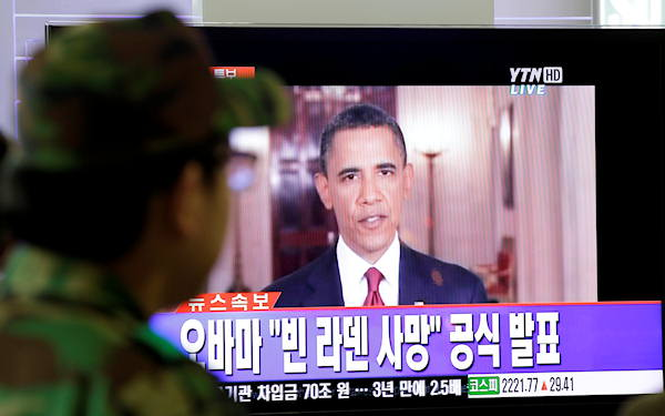 A South Korean soldier watches a live TV broadcast of U.S. President Barack Obama speaking about Osama bin Laden at Seoul train station in Seoul, South Korea, Monday, May 2, 2011. Osama bin Laden, the glowering mastermind behind the Sept. 11, 2001, terror attacks that killed thousands of Americans, was killed in an operation led by the United States, President Barack Obama said Sunday. The Korean caption reads: &#34; Obama officially announces death of bin Laden.&#34;  <span class=meta>(AP Photo&#47;Lee Jin-man)</span>