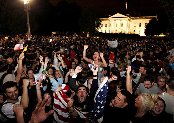 A shot from ABC News of celebrations outside...