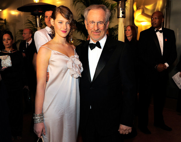 Director Steven Spielberg, right, and his daughter Destry Allyn Spielberg at the Governors Ball following the 83rd Academy Awards on Sunday, Feb. 27, 2011, in the Hollywood section of Los Angeles. (AP Photo/Chris Pizzello)